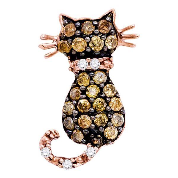 Kitty Cat Feline Pendant 1/3 Cttw 10k Rose Gold
