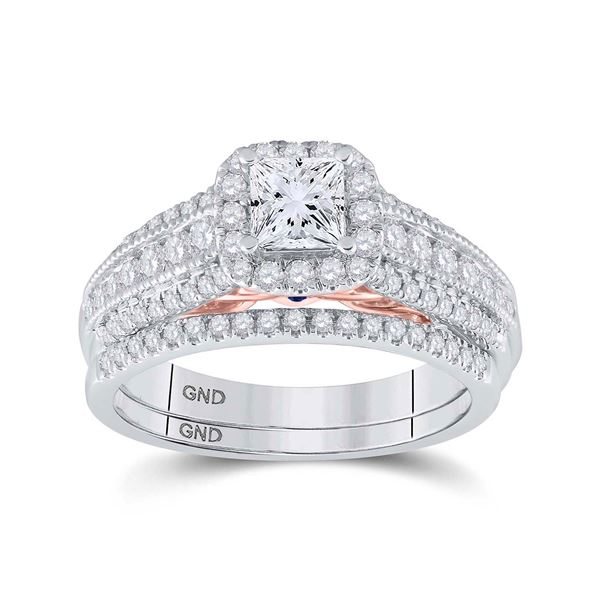 Princess Diamond Bridal Wedding Ring Band Set 1-1/4 Cttw 14kt Two-tone Gold