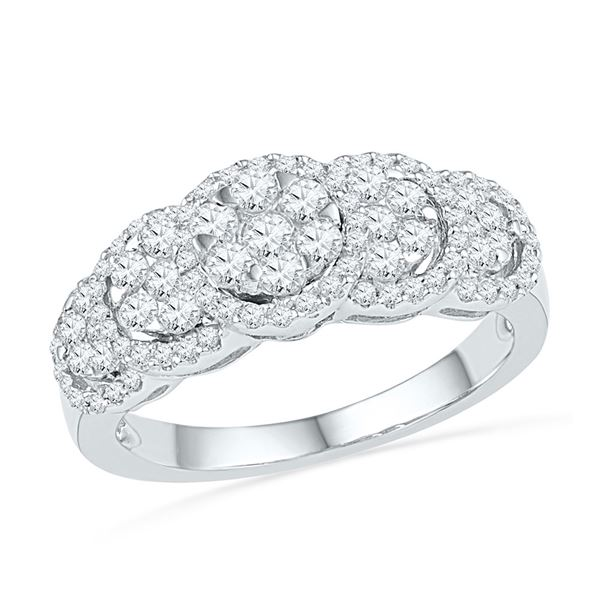 Diamond Flower Cluster Ring 5/8 Cttw 10kt White Gold