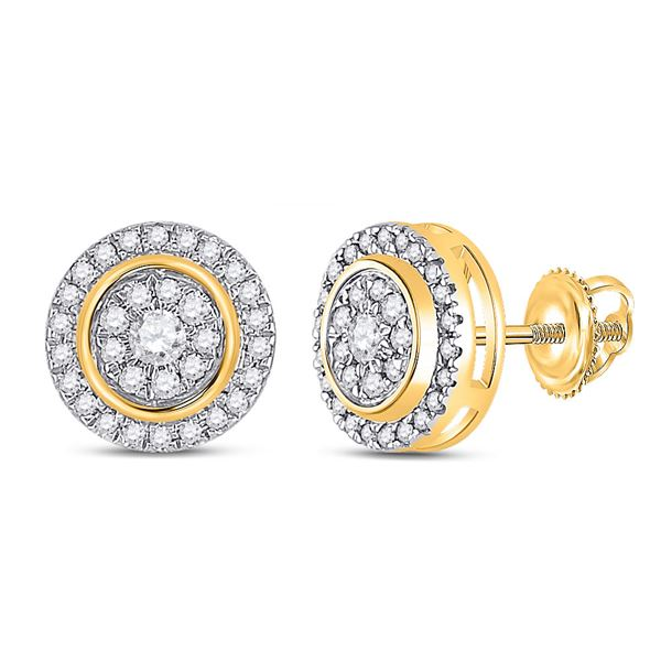 Diamond Circle Cluster Earrings 1/3 Cttw 14kt Yellow Gold