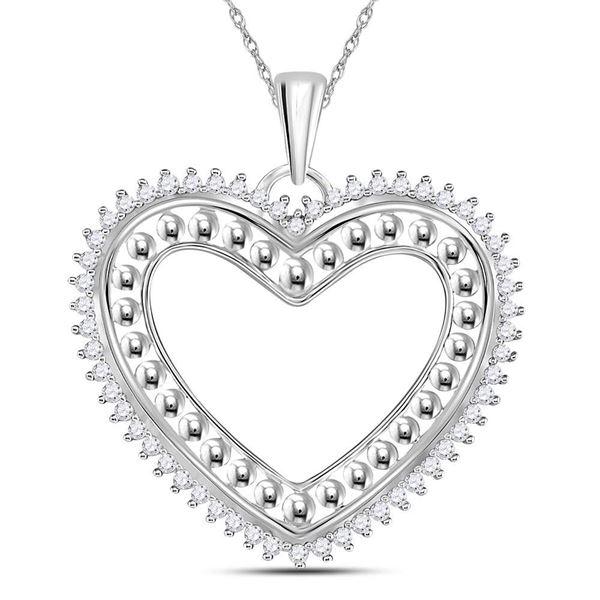 Diamond Beaded Heart Pendant 1/4 Cttw 14kt White Gold