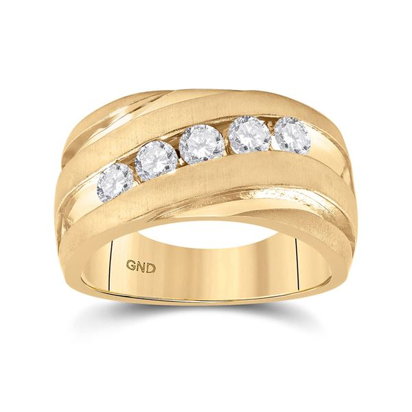 Mens Diamond Wedding Anniversary Band Ring 1 Cttw 10kt Yellow Gold