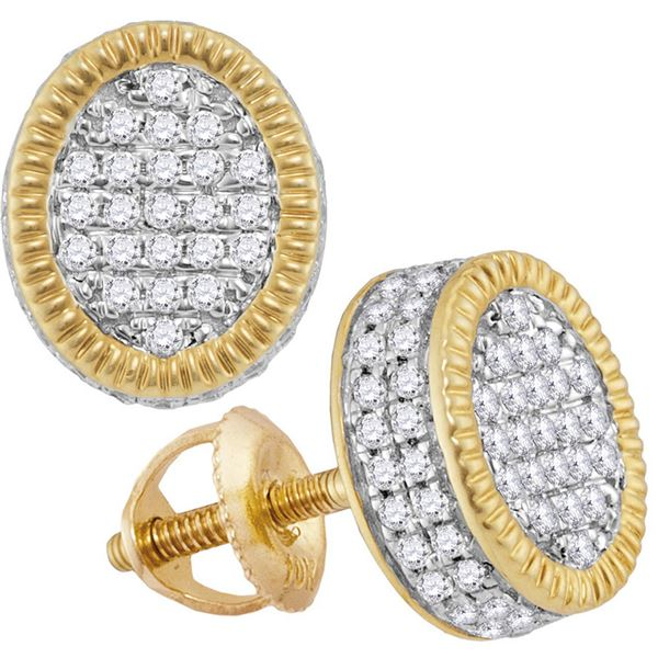 Mens Diamond Fluted Oval Cluster Stud Earrings 1/2 Cttw 10kt Yellow Gold