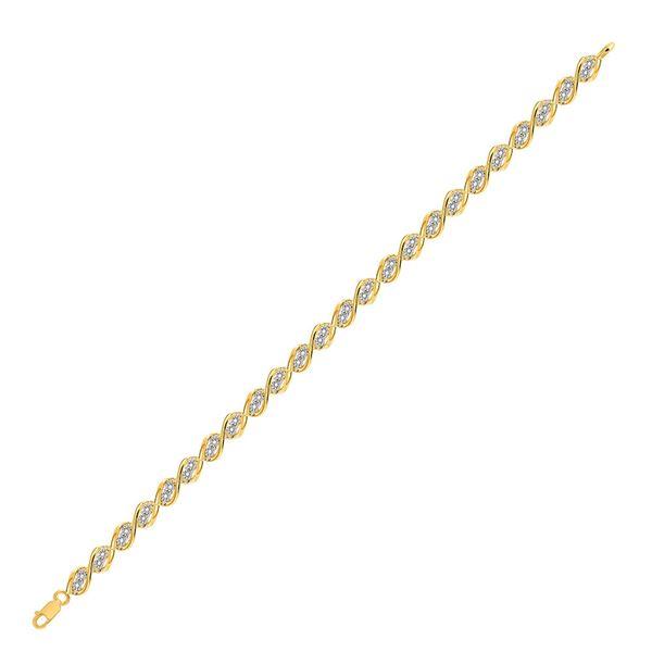 Diamond Illusion-set Tennis Bracelet 1/5 Cttw 10kt Yellow Gold