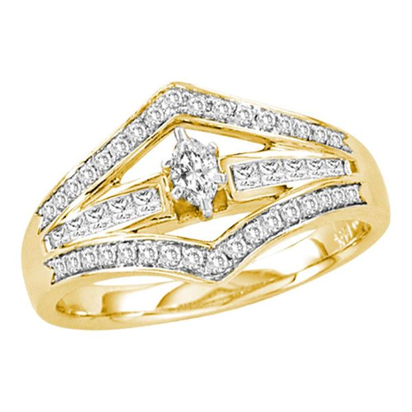 Marquise Diamond Marquise Bridal Wedding Engagement Ring 1/2 Cttw 14kt Yellow Gold