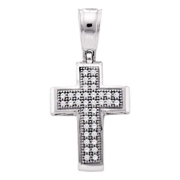 Diamond Small Cross Pendant 1/10 Cttw 10kt White Gold