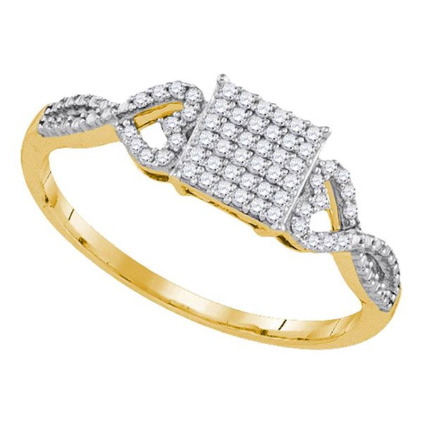 Diamond Square Cluster Ring 1/5 Cttw 10kt Yellow Gold