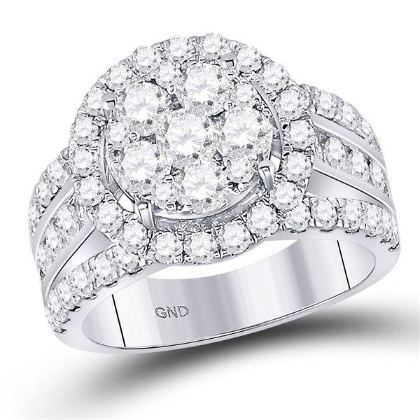 Diamond Cluster Bridal Wedding Engagement Ring 2 Cttw 14kt White Gold