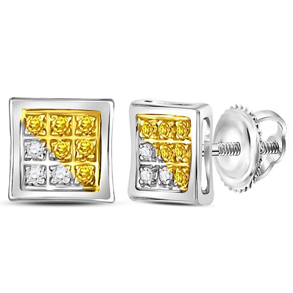 Sterling Silver Mens Yellow Color Enhanced Diamond Cluster Earrings 1/20 Cttw Sterling Silver