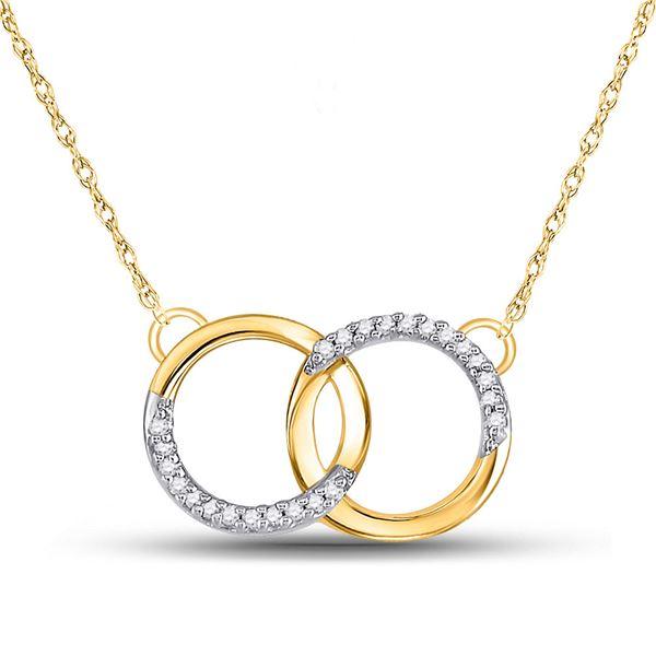 Diamond Interlocking Double Circle Pendant Necklace 1/10 Cttw 10kt Yellow Gold