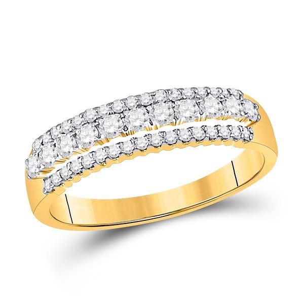 Diamond Triple Row Band Ring 1/2 Cttw 14kt Yellow Gold