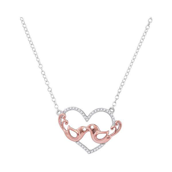 Diamond Heart Rose-tone Lovebirds Pendant Necklace 1/10 Cttw 10kt White Gold