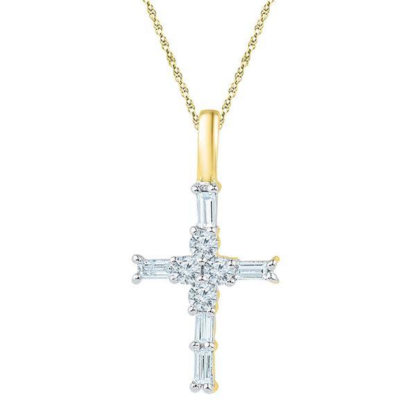 Baguette Diamond Cross Pendant 1/4 Cttw 10kt Yellow Gold