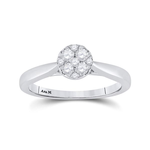 Diamond Cluster Bridal Wedding Engagement Ring 1/4 Cttw 14kt White Gold