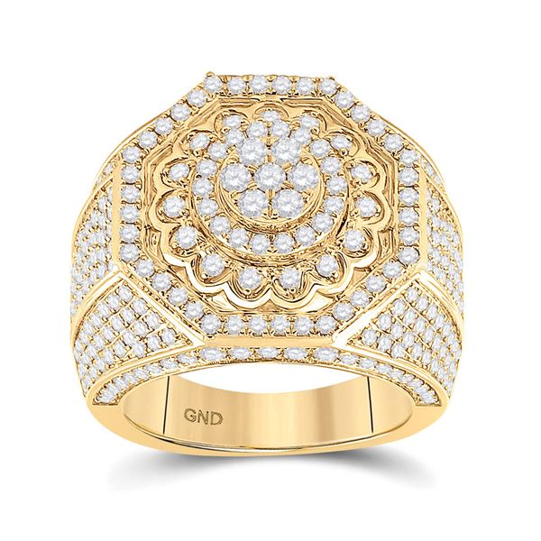 Mens Diamond Octagon Statement Cluster Ring 3-1/2 Cttw 14kt Yellow Gold