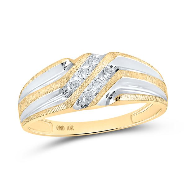 Mens Diamond Wedding Band Ring 1/8 Cttw 10kt Two-tone Gold