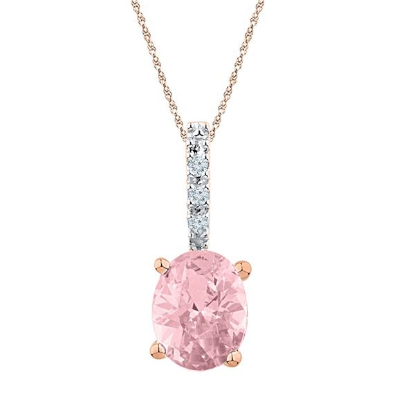 Oval Lab-Created Morganite Solitaire Pendant 7/8 Cttw 10kt Rose Gold