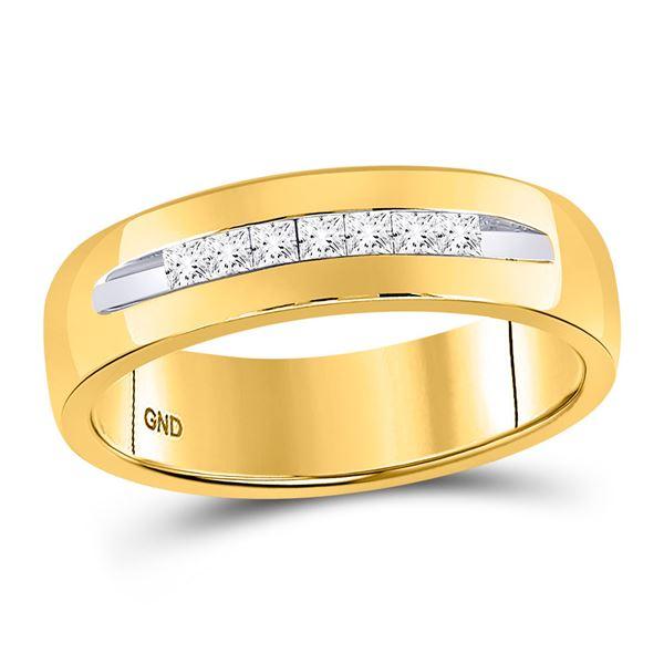 Mens Princess Diamond Wedding Band Ring 1/4 Cttw 14kt Yellow Gold
