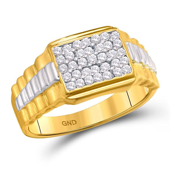 Mens Diamond Rectangle Cluster Ribbed Two-tone Ring 1/2 Cttw 10kt Yellow Gold