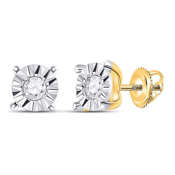 Diamond Miracle Stud Earrings 1/6 Cttw 10kt Yellow Gold