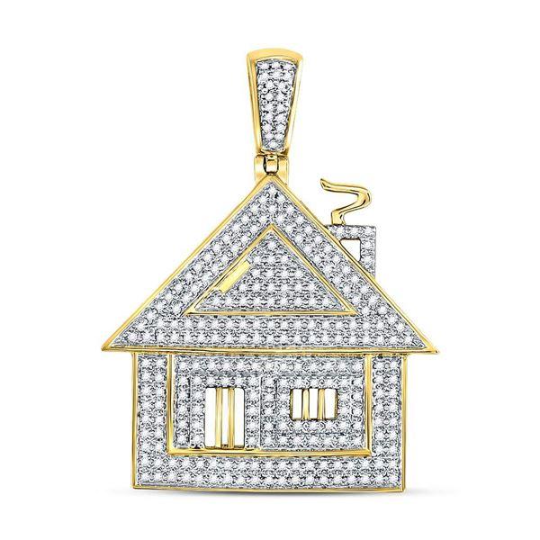 Mens Diamond Trap House Charm Pendant 3/4 Cttw 10kt Yellow Gold