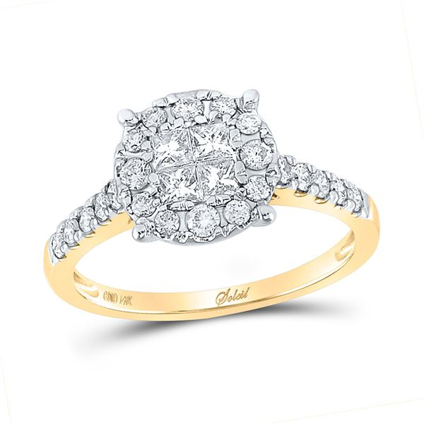Princess Diamond Cluster Bridal Wedding Engagement Ring 3/4 Cttw 14kt Yellow Gold