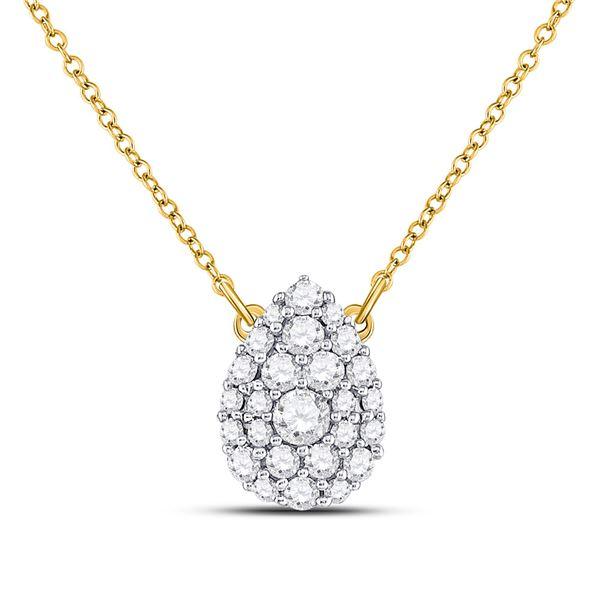 Diamond Teardrop Cluster Necklace 1/2 Cttw 10kt Yellow Gold