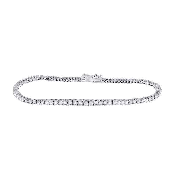 Diamond Studded Tennis Bracelet 2 Cttw 14kt White Gold