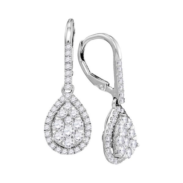 Diamond Leverback Teardrop Dangle Earrings 1-3/8 Cttw 14kt White Gold