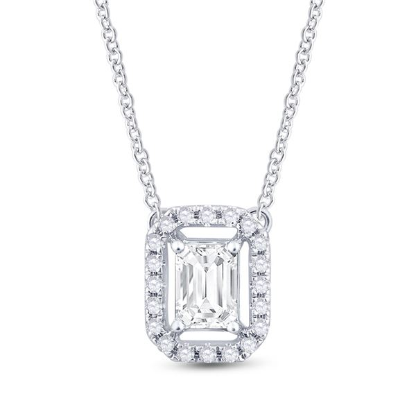 Emerald Diamond Solitaire Necklace 5/8 Cttw 14kt White Gold