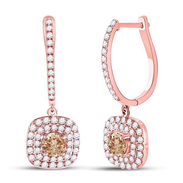 Brown Diamond Dangle Earrings 2-1/3 Cttw 14kt Rose Gold