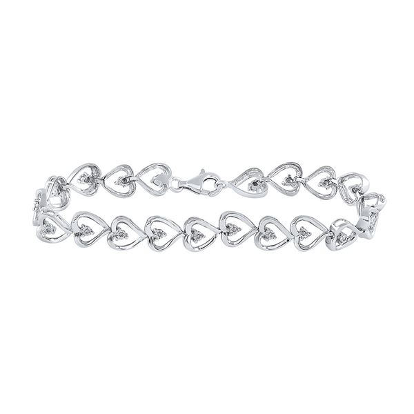 Diamond Heart Link Bracelet 1/10 Cttw Sterling Silver