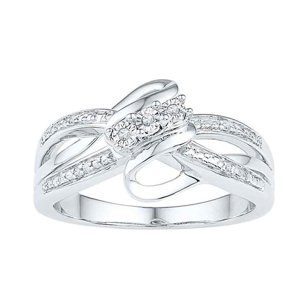 Sterling Silver Diamond 3-stone Bridal Wedding Engagement Ring .03 Cttw Sterling Silver