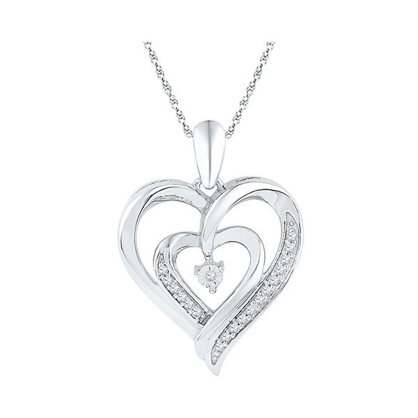Diamond Double Nested Heart Pendant 1/10 Cttw Sterling Silver