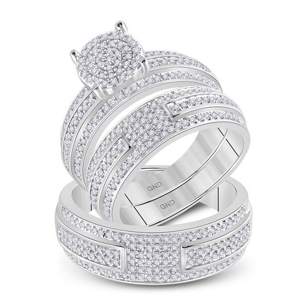 His Hers Diamond Cluster Matching Wedding Set 1 Cttw 14kt White Gold