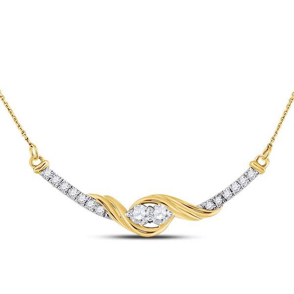 Diamond Bar 2-stone Necklace 1/3 Cttw 14kt Yellow Gold
