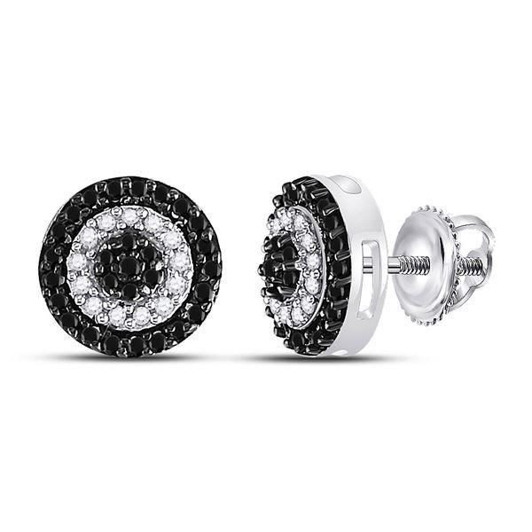 Black Color Enhanced Diamond Circle Cluster Earrings 1/4 Cttw 10kt White Gold