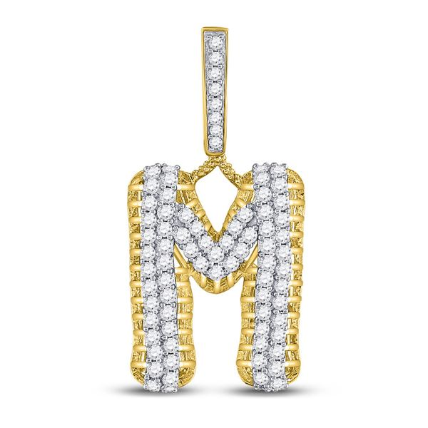 Mens Diamond M Letter Charm Pendant 1-1/2 Cttw 10kt Yellow Gold