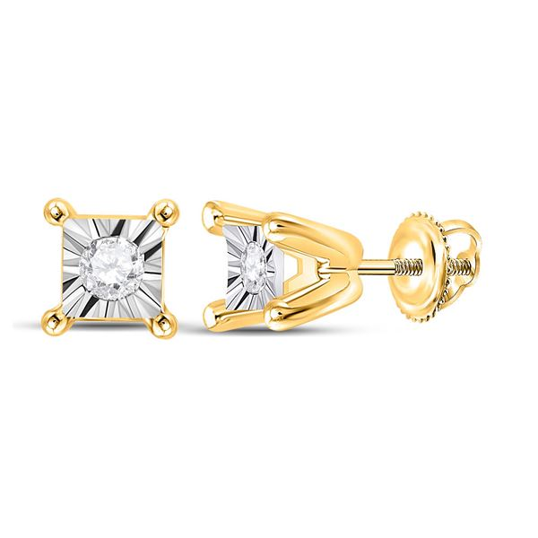Diamond Solitaire Stud Earrings 1/20 Cttw 10kt Yellow Gold