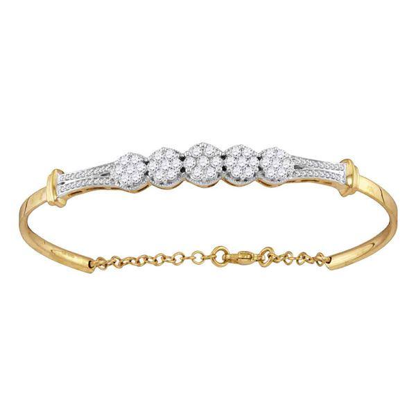 Diamond Cluster Promise Bangle Bracelet 1 Cttw 10kt Yellow Gold