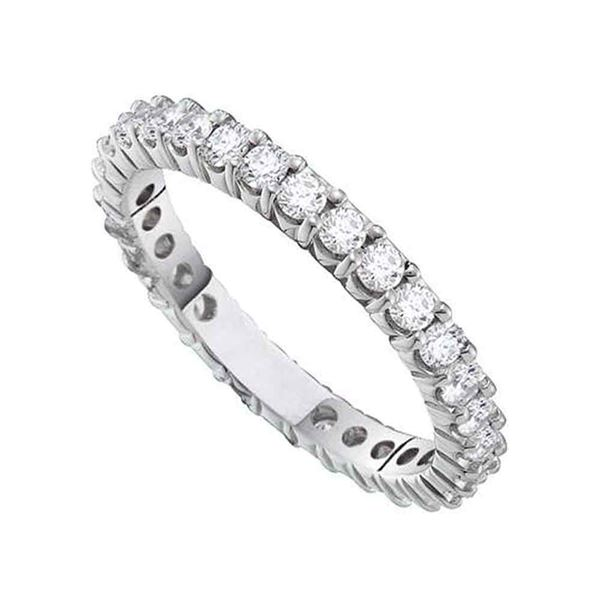 Pave-set Diamond Eternity Wedding Anniversary Band 1/2 Cttw 14kt White Gold