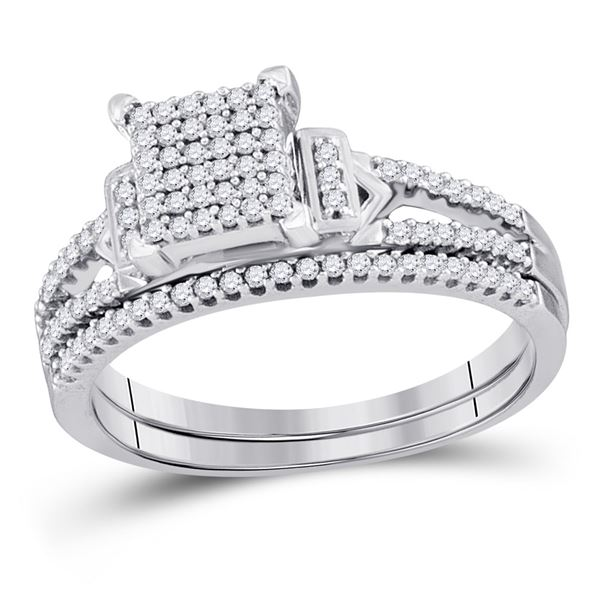 Sterling Silver Diamond Bridal Wedding Ring Band Set 1/3 Cttw Sterling Silver