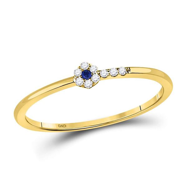 Blue Sapphire Diamond Stackable Band Ring 1/12 Cttw 10kt Yellow Gold