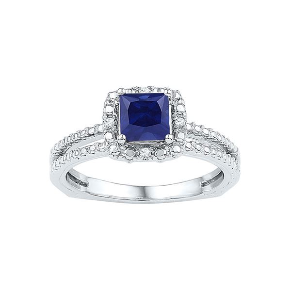 Princess Lab-Created Blue Sapphire Solitaire Ring 7/8 Cttw Sterling Silver
