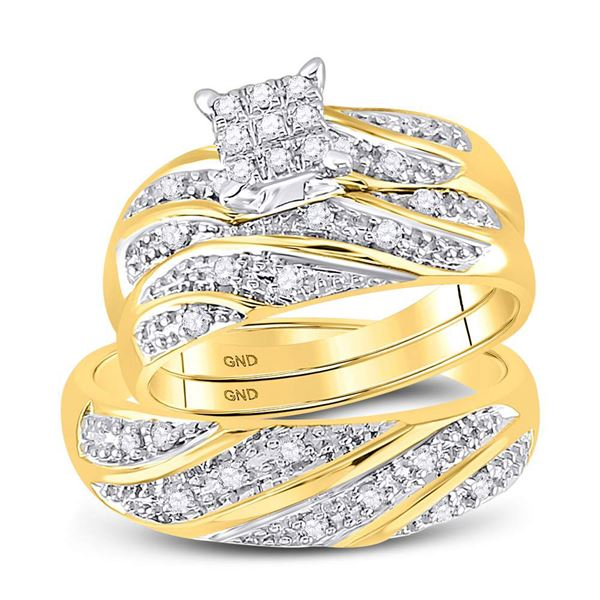 His Hers Diamond Square Matching Wedding Set 1/3 Cttw 14kt Yellow Gold