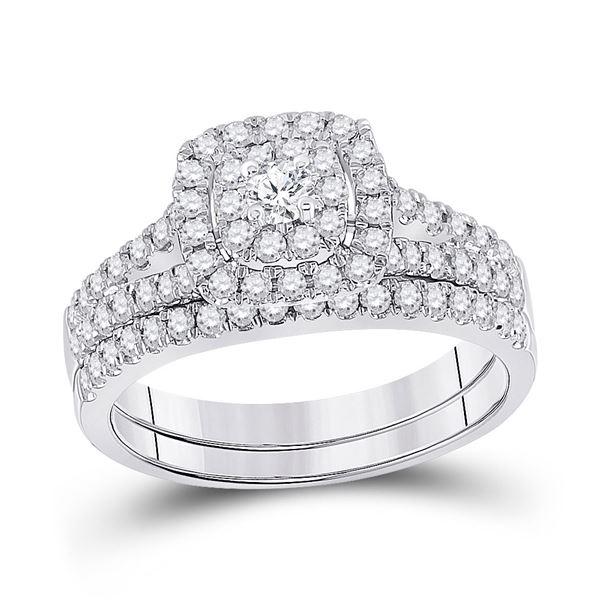 Diamond Bridal Wedding Ring Band Set 7/8 Cttw 14kt White Gold