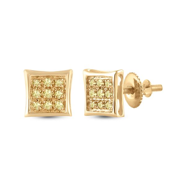 Mens Yellow Color Enhanced Diamond Square Earrings 1/20 Cttw 10kt Yellow Gold