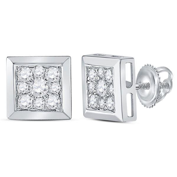 Diamond Square Cluster Stud Earrings 1/2 Cttw 14kt White Gold