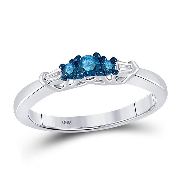 Blue Color Enhanced Diamond 3-stone Bridal Wedding Ring 1/4 Cttw 10kt White Gold