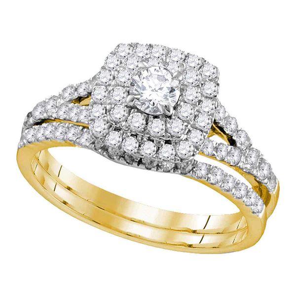 Diamond Double Halo Bridal Wedding Ring Band Set 1 Cttw 14kt Yellow Gold